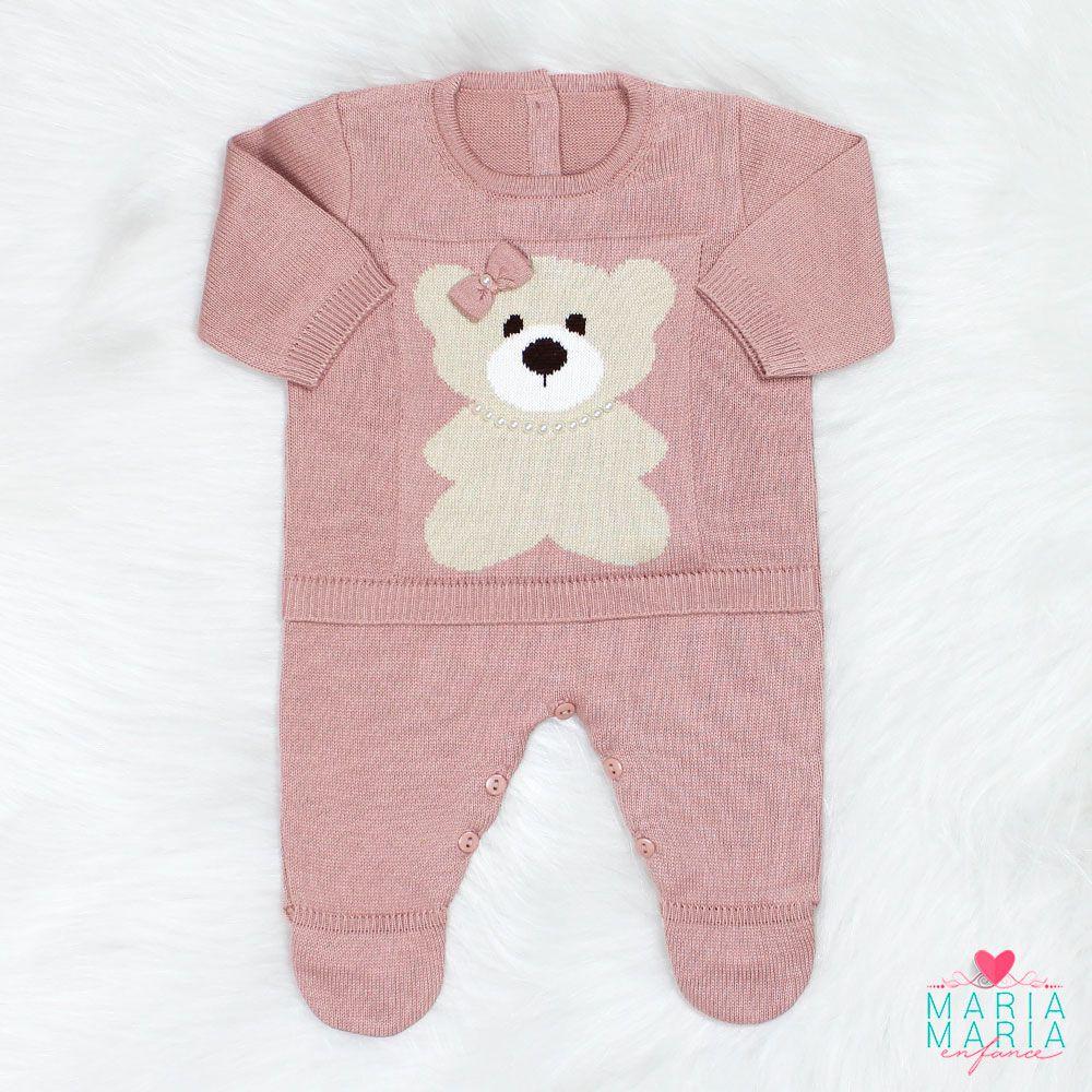 Saída de Maternidade Macacão Ursinha Rosê