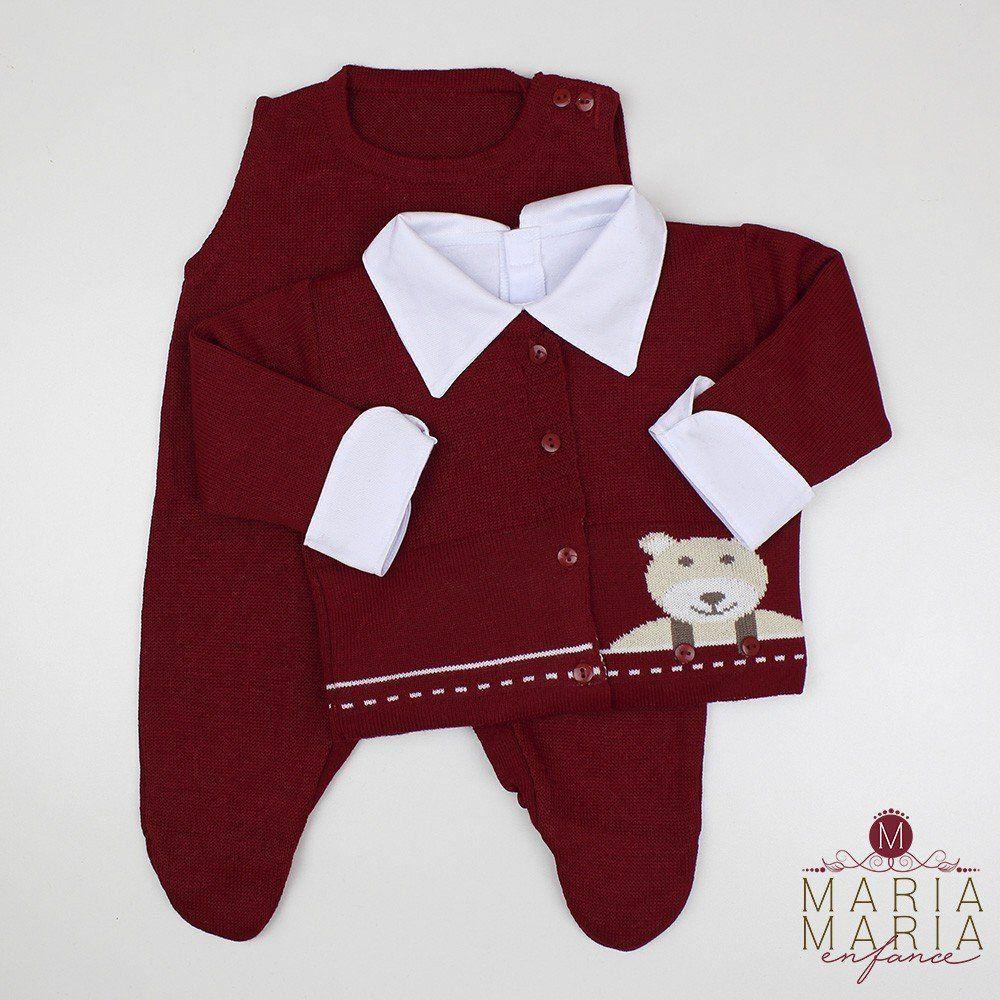 Saída de Maternidade Ursinho Botão Bordô
