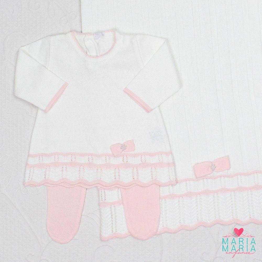 Saída de Maternidade Vestido Chanel Branco e Salmão