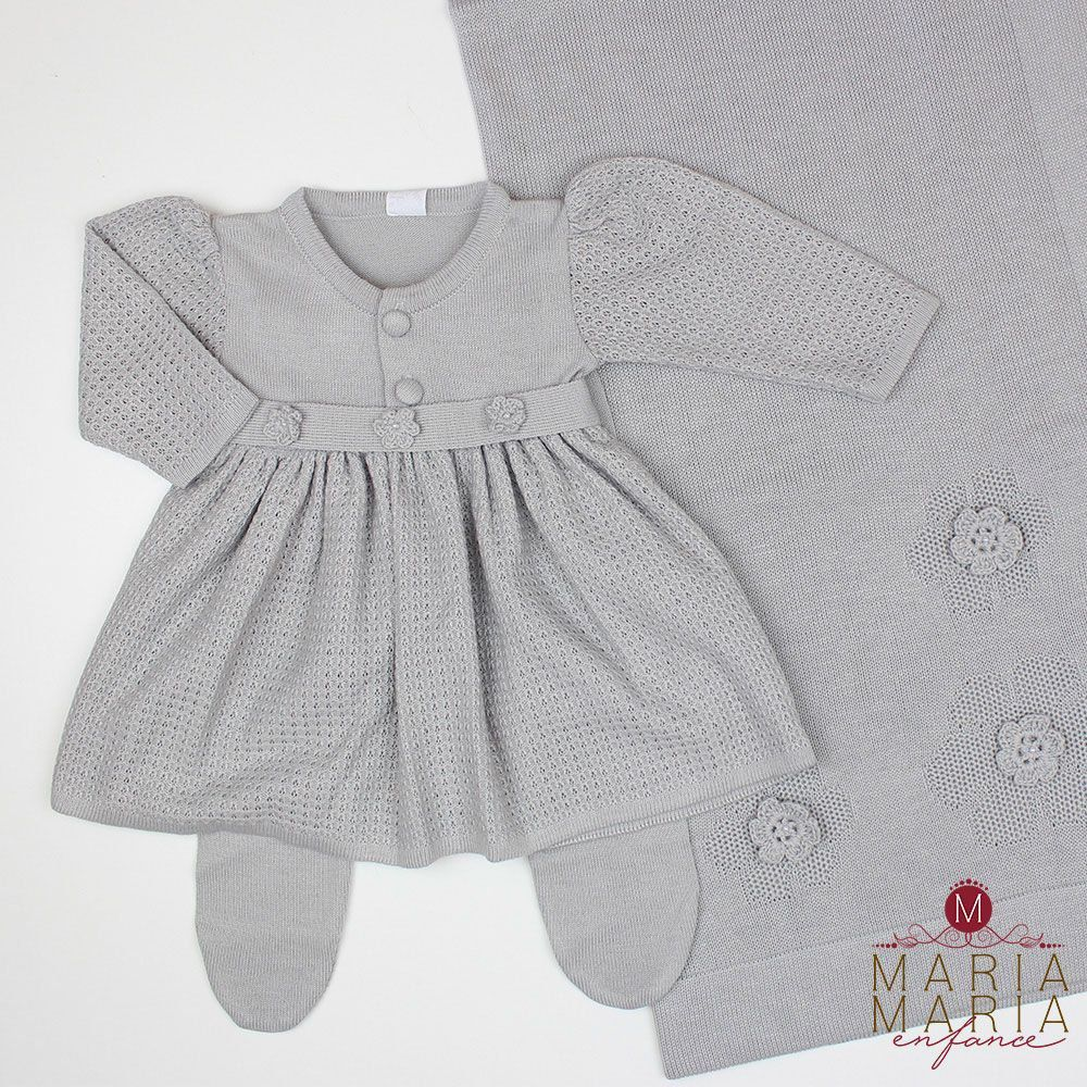 Saída de Maternidade Vestido Florzinha Cinza