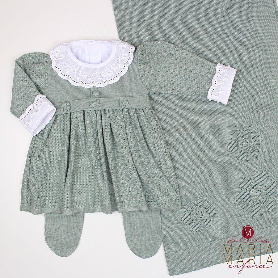 Saída de Maternidade Vestido Florzinha Verde Maré