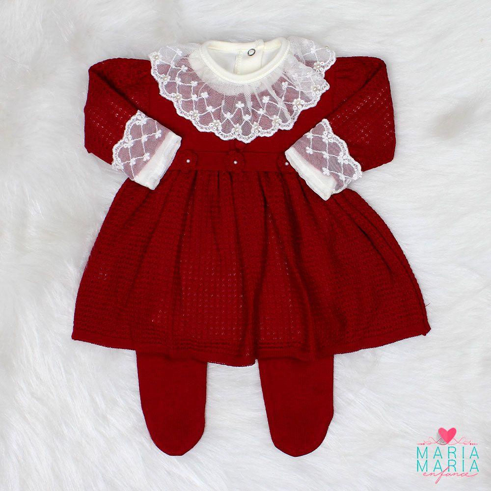 Saída de Maternidade Vestido Florzinha Bordô