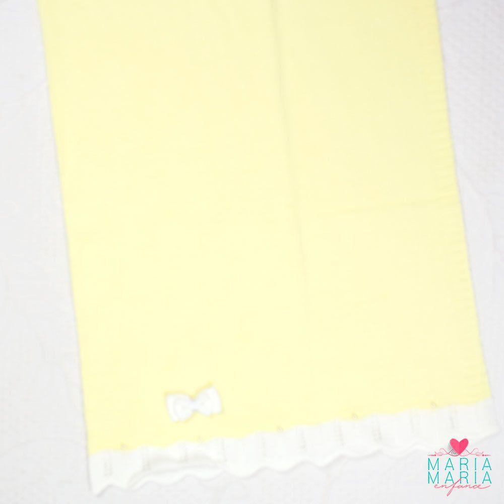 Saída de Maternidade Vestido Gola Amarelo