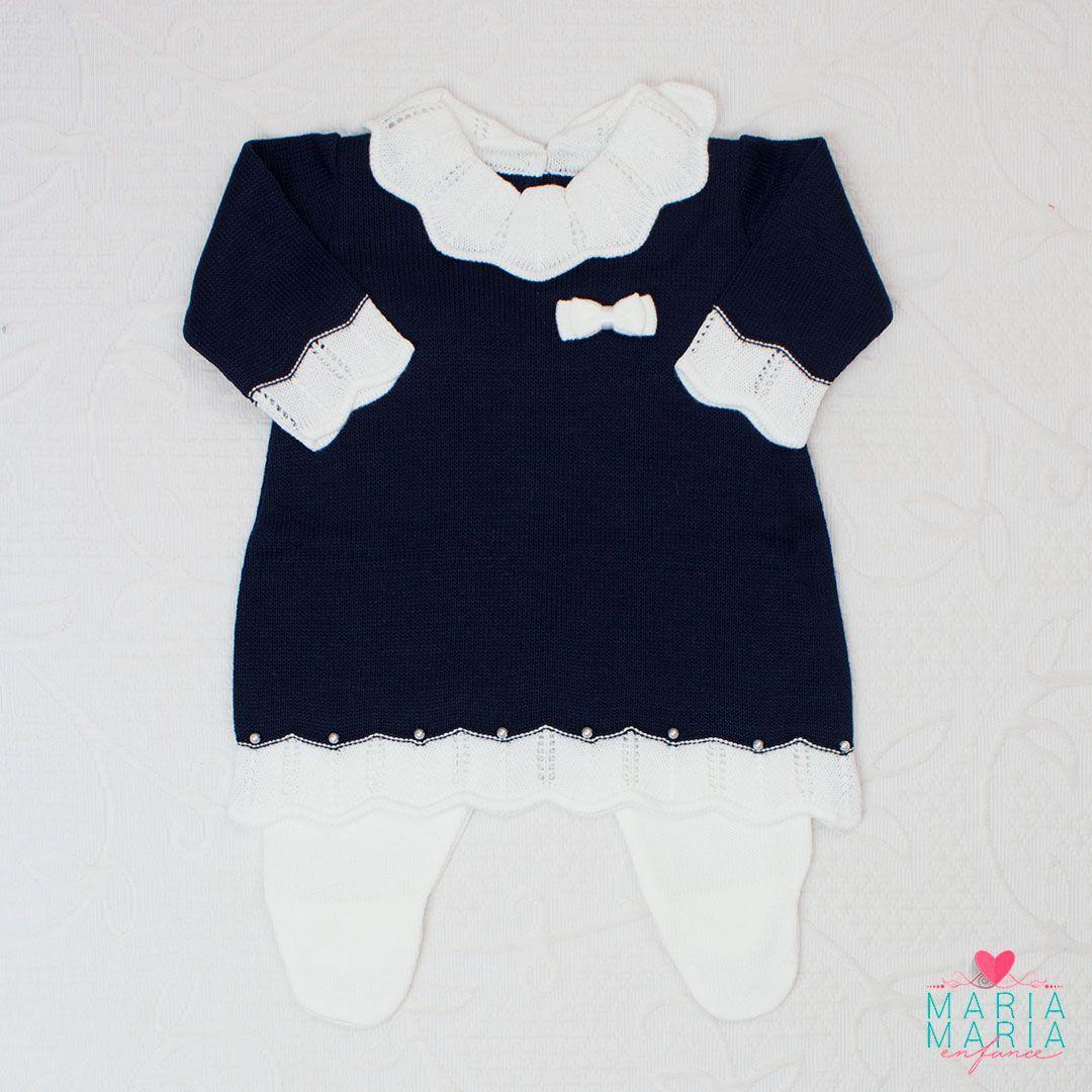Saída de Maternidade Vestido Gola Marinho