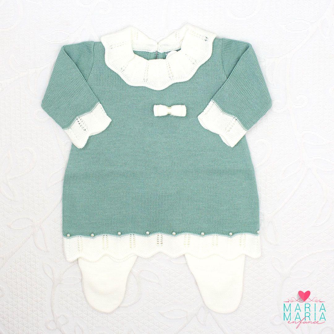Saída de Maternidade Vestido Gola Menta e Off White