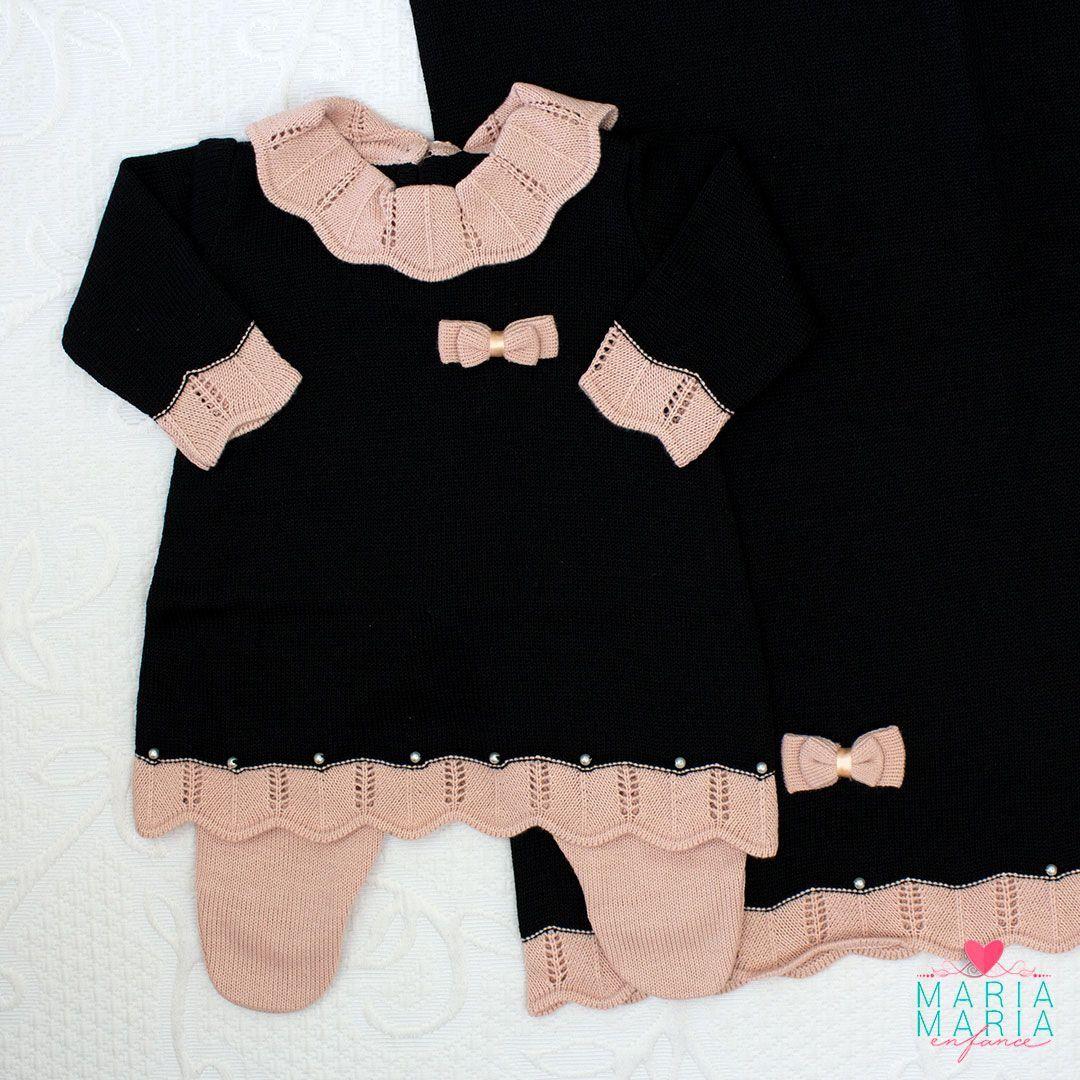 Saída de Maternidade Vestido Gola Preto e Rosê