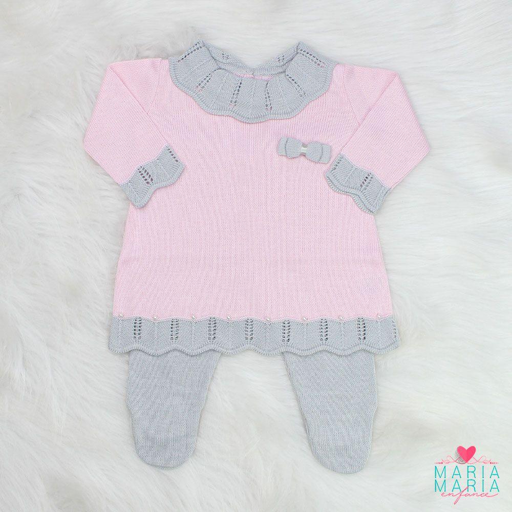 Saída de Maternidade Vestido Gola Rosa e Cinza