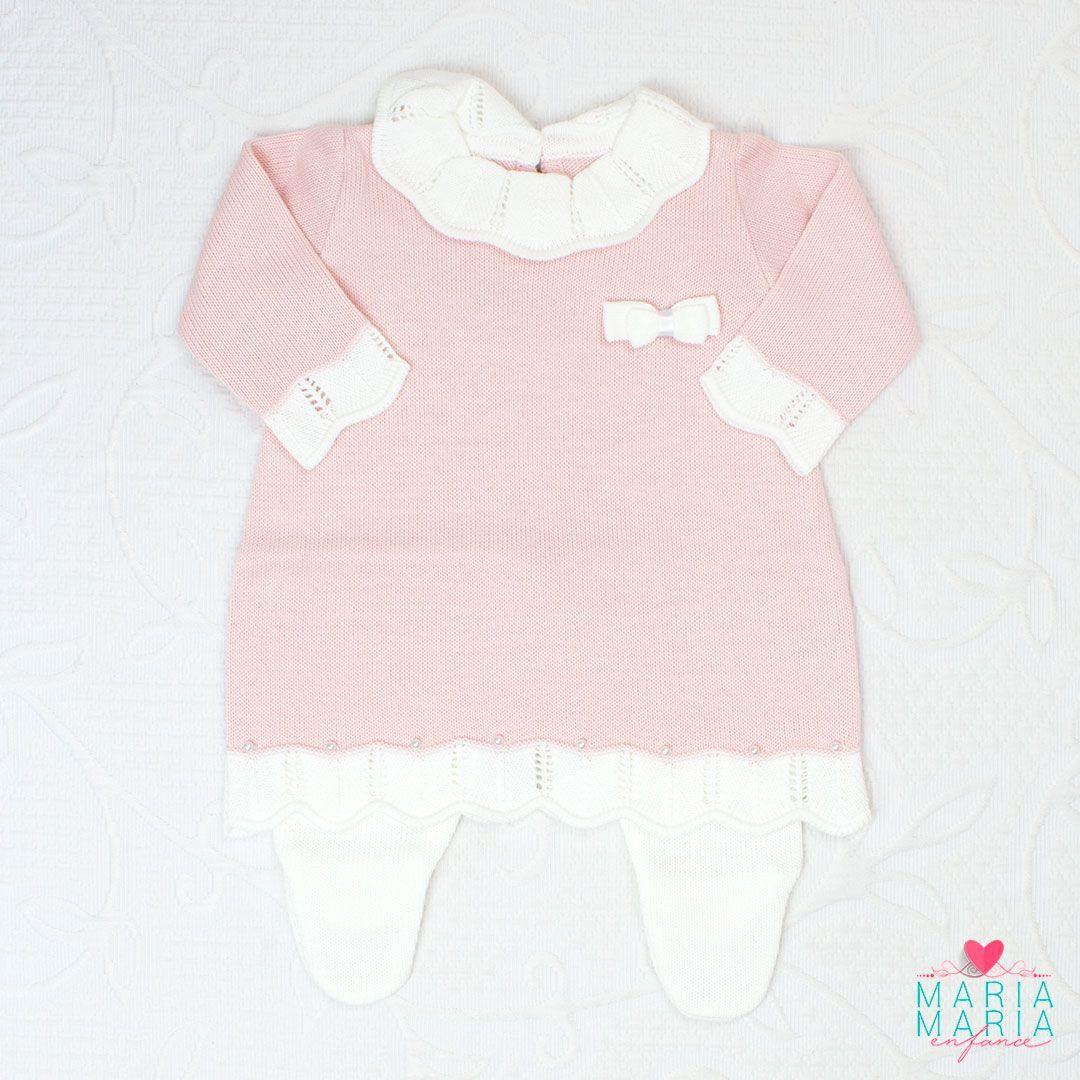 Saída de Maternidade Vestido Gola Rosa
