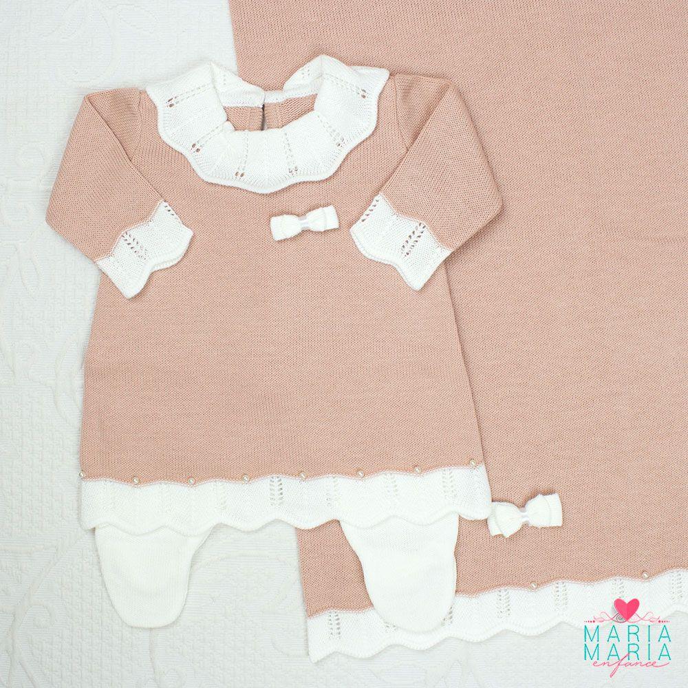 Saída de Maternidade Vestido Gola Rosê P