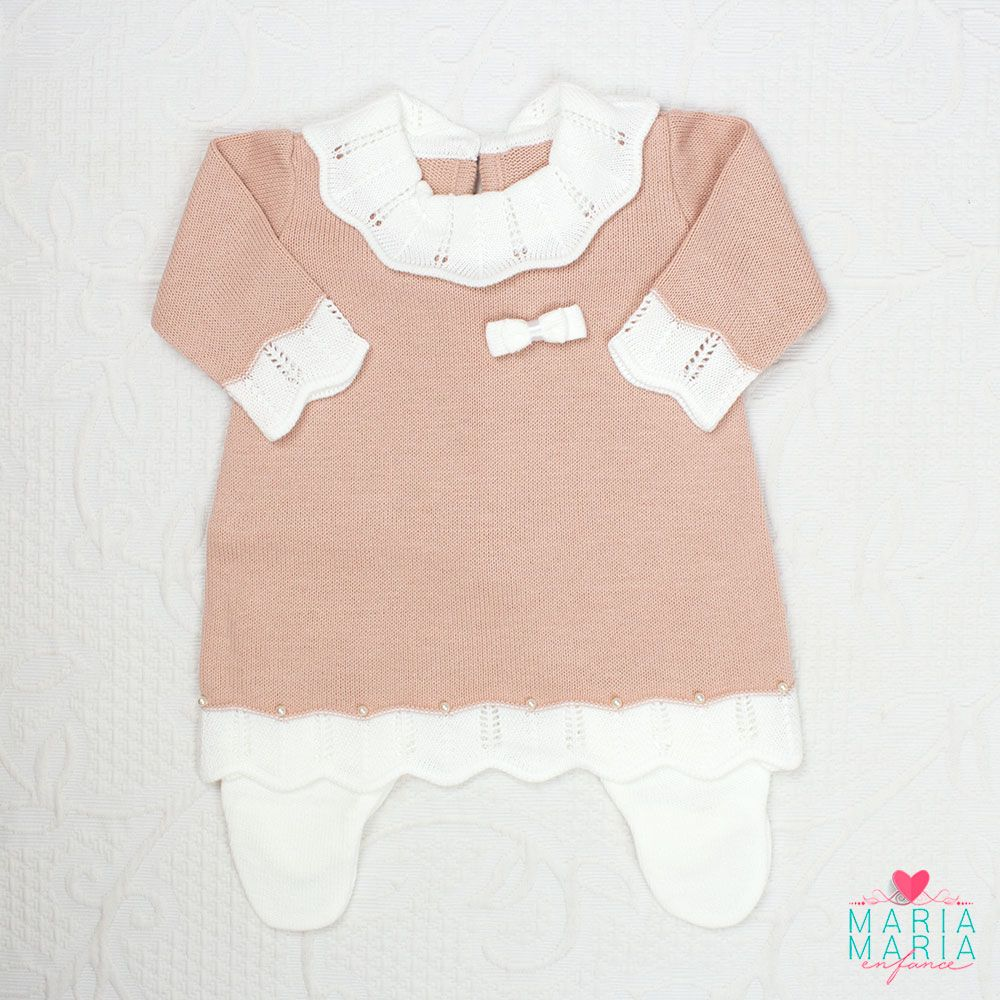 Saída de Maternidade Vestido Gola Rosê