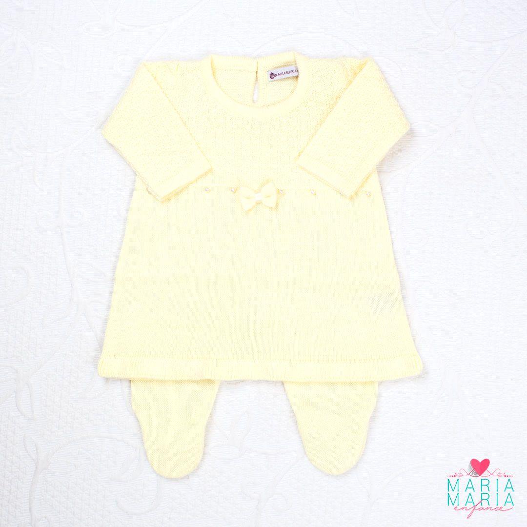 Saída de Maternidade Vestido Laço Amarelo