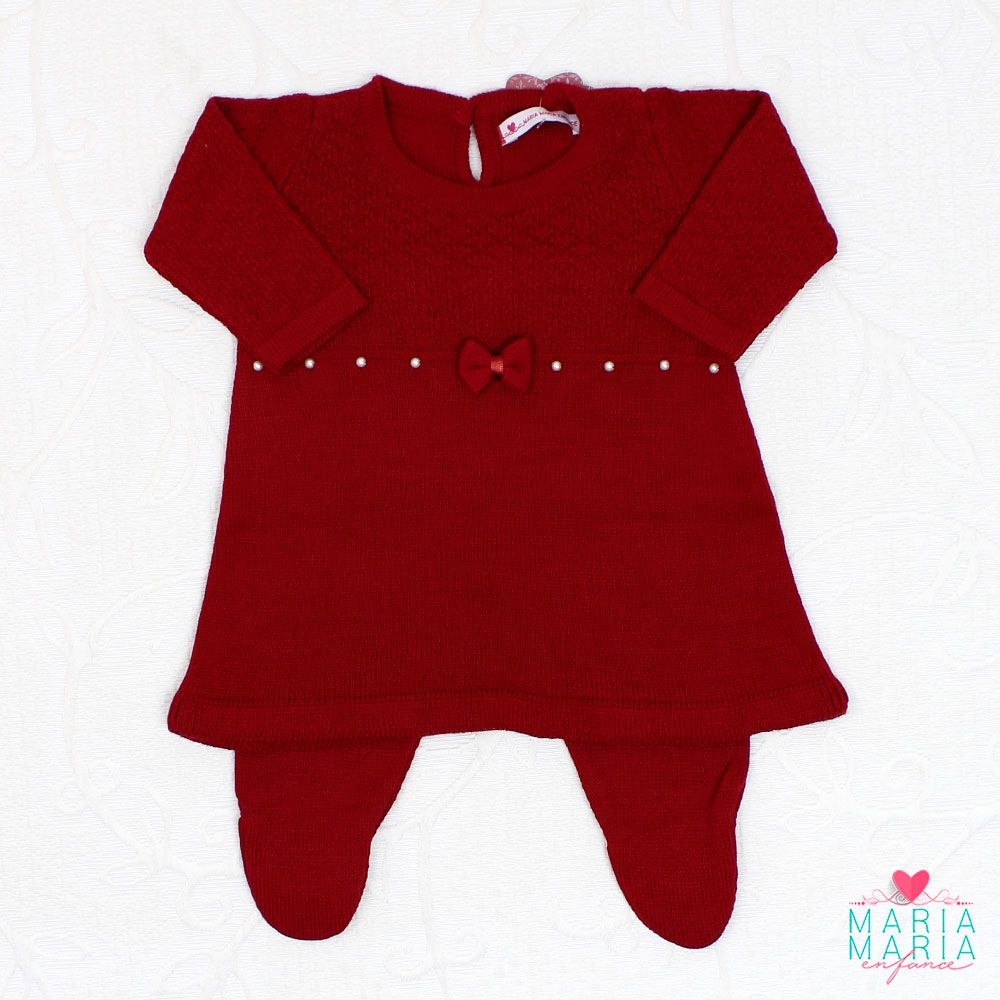 Saída de Maternidade Vestido Laço Bordô