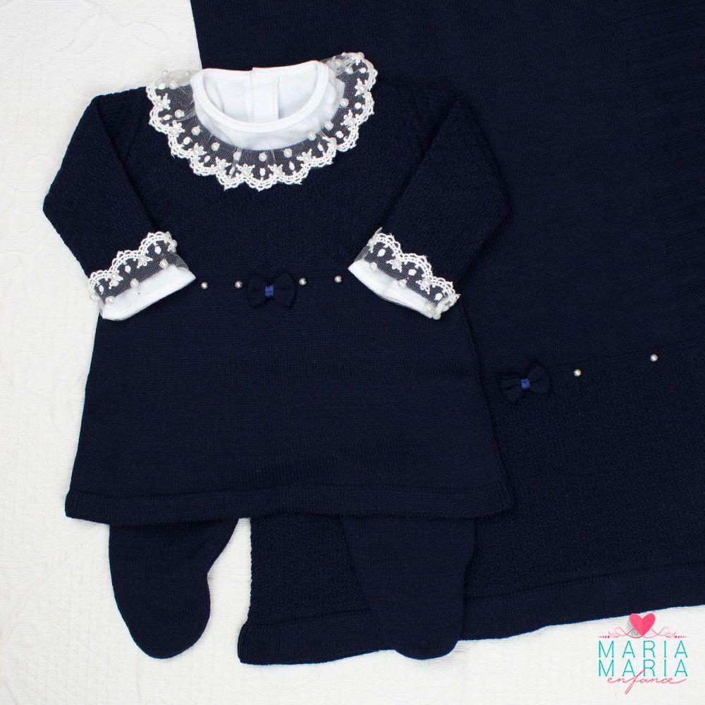 Saída de Maternidade Vestido Laço Marinho
