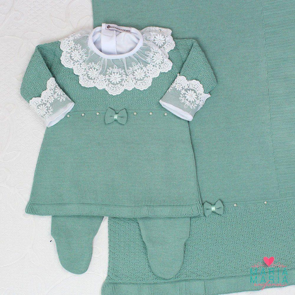 Saída de Maternidade Vestido Laço Menta