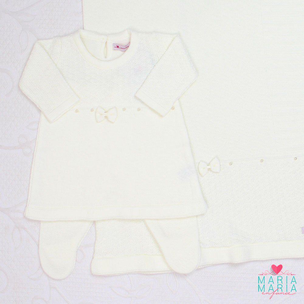 Saída de Maternidade Vestido Laço Off White