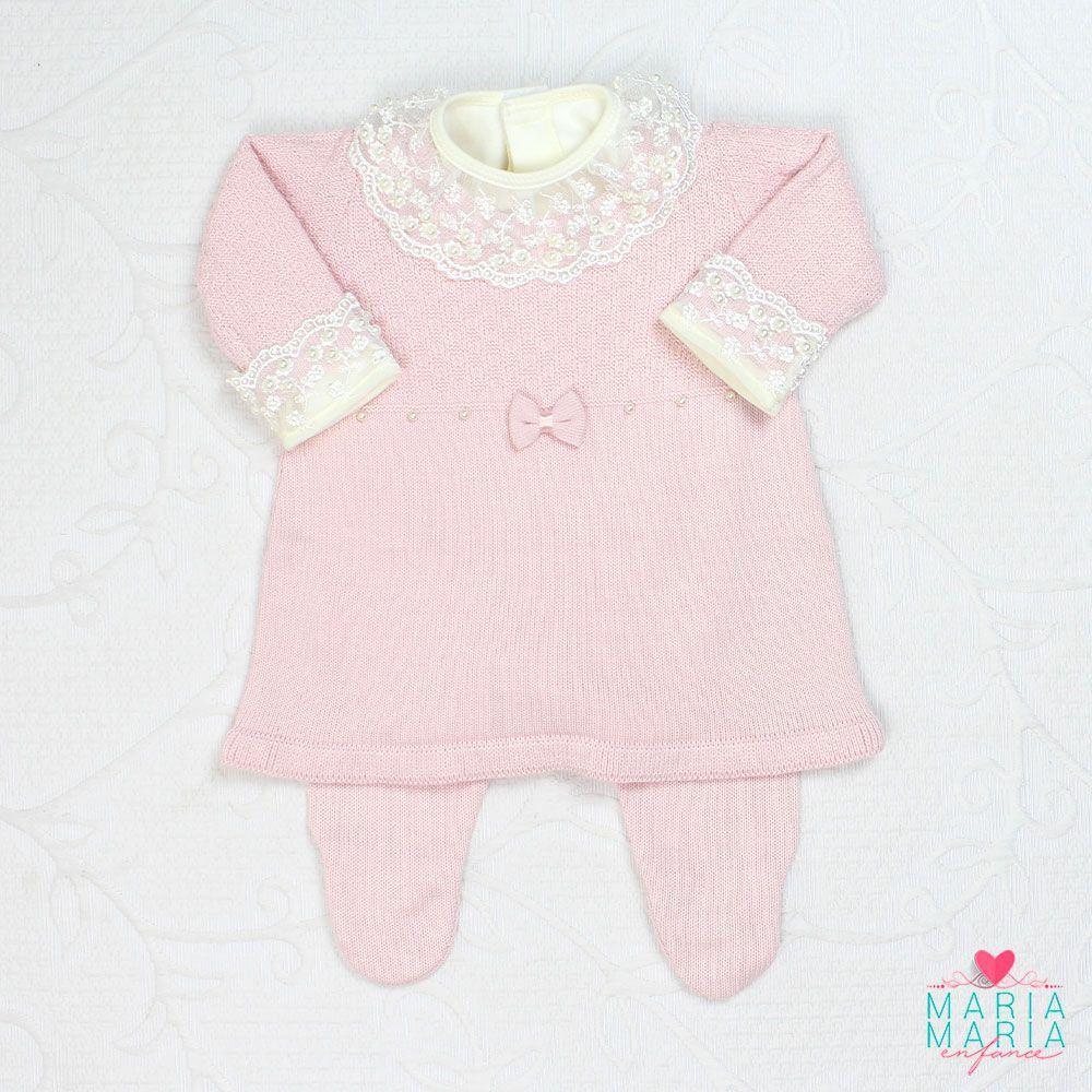 Saída de Maternidade Vestido Laço Rosa