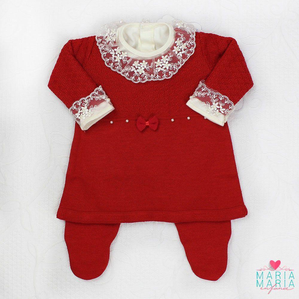 Saída de Maternidade Vestido Laço Vermelho
