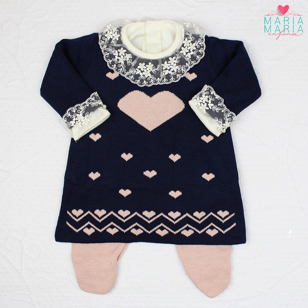 Saída de Maternidade Vestido Love Marinho e Rosê