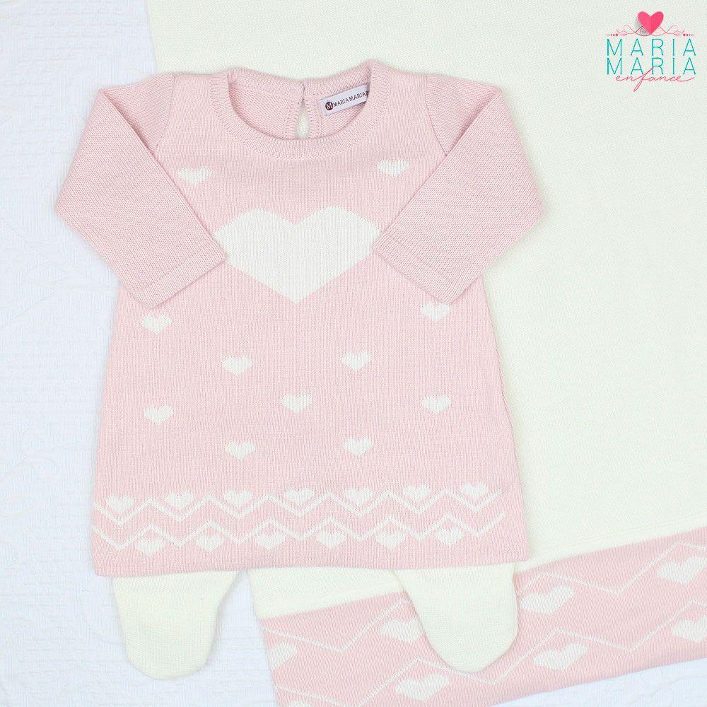 Saída de Maternidade Vestido Love Rosa e Off White
