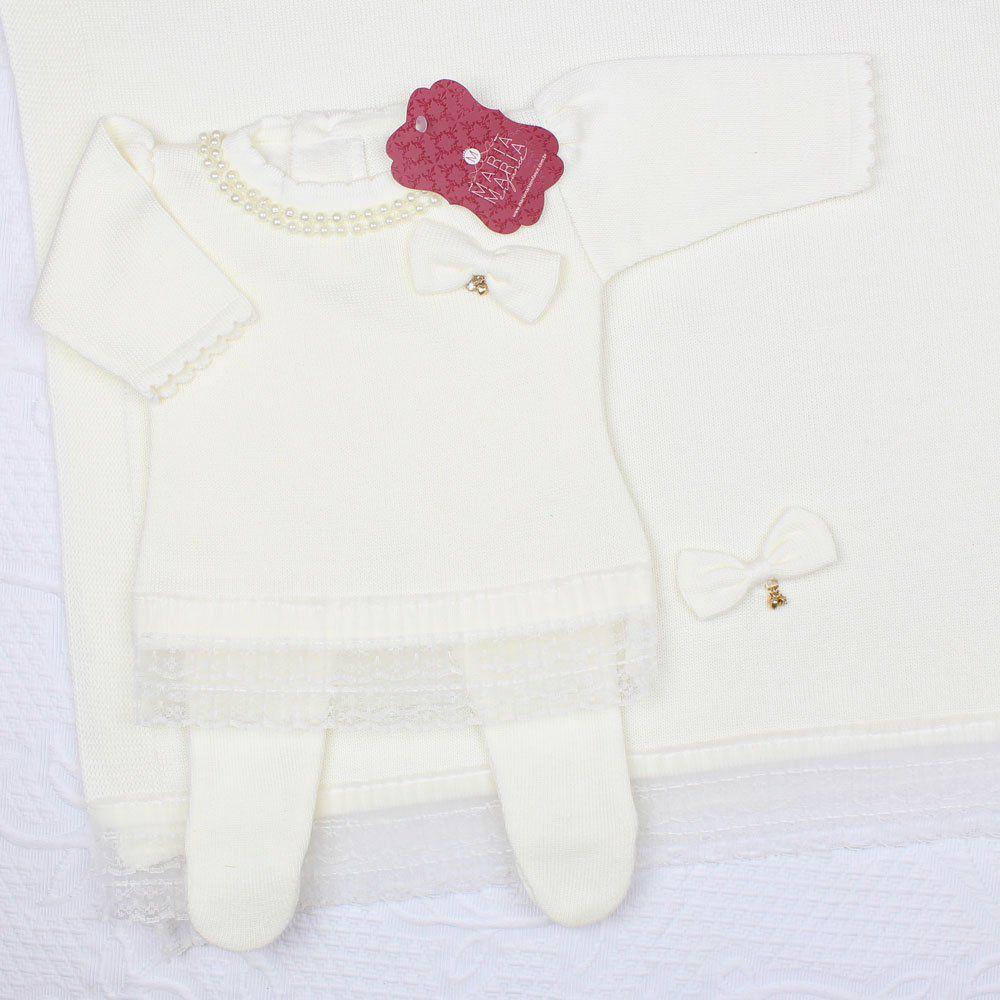 Saída de Maternidade Vestido Renda Off White