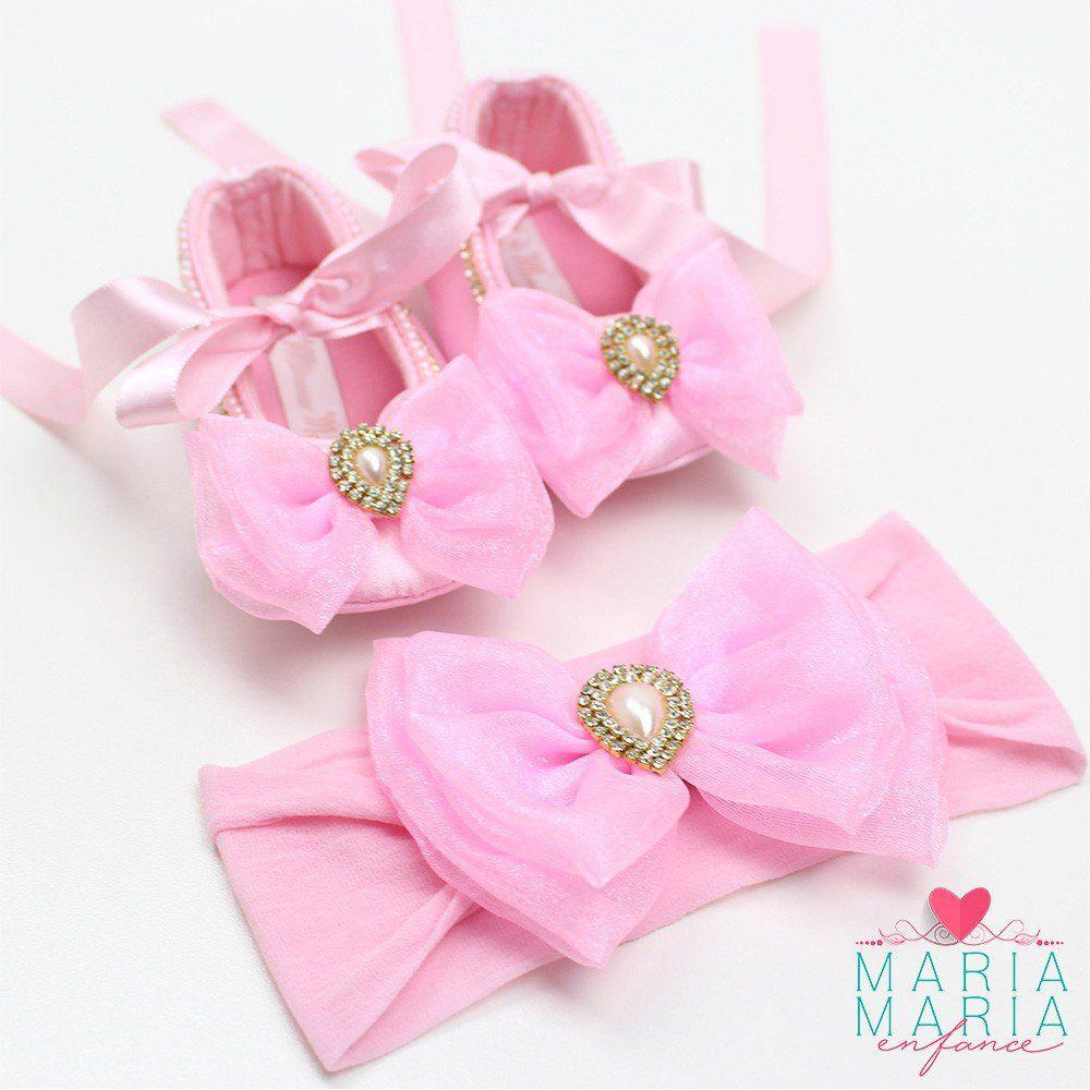 Sapatilha de Cetim + Faixa Meia de Seda Laço Rosa