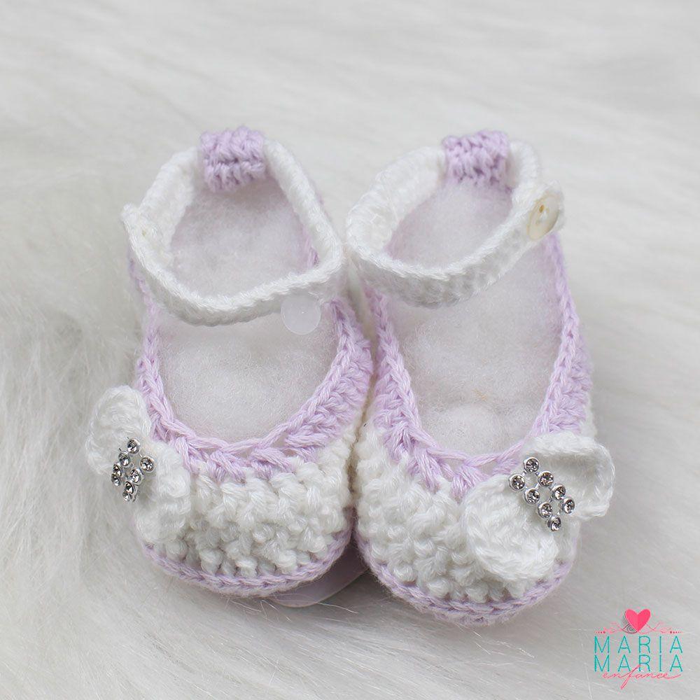 Sapatinho de Crochê Boneca Branco e Lilás