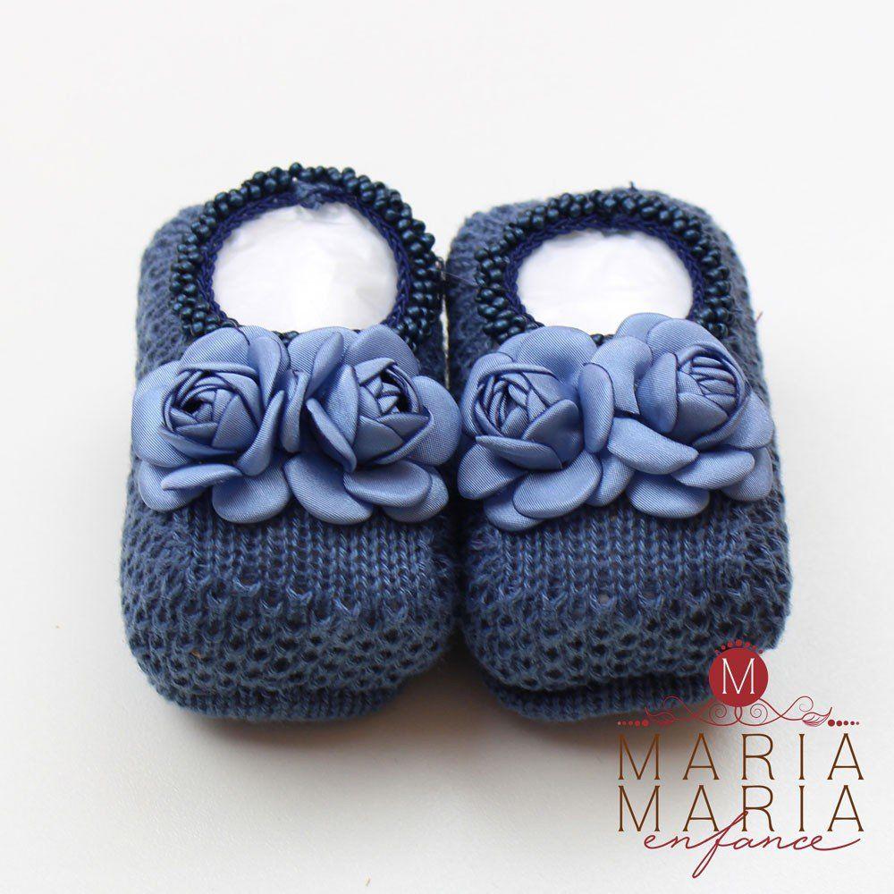 Sapatinho de Tricô 2 Flores Azul Jeans