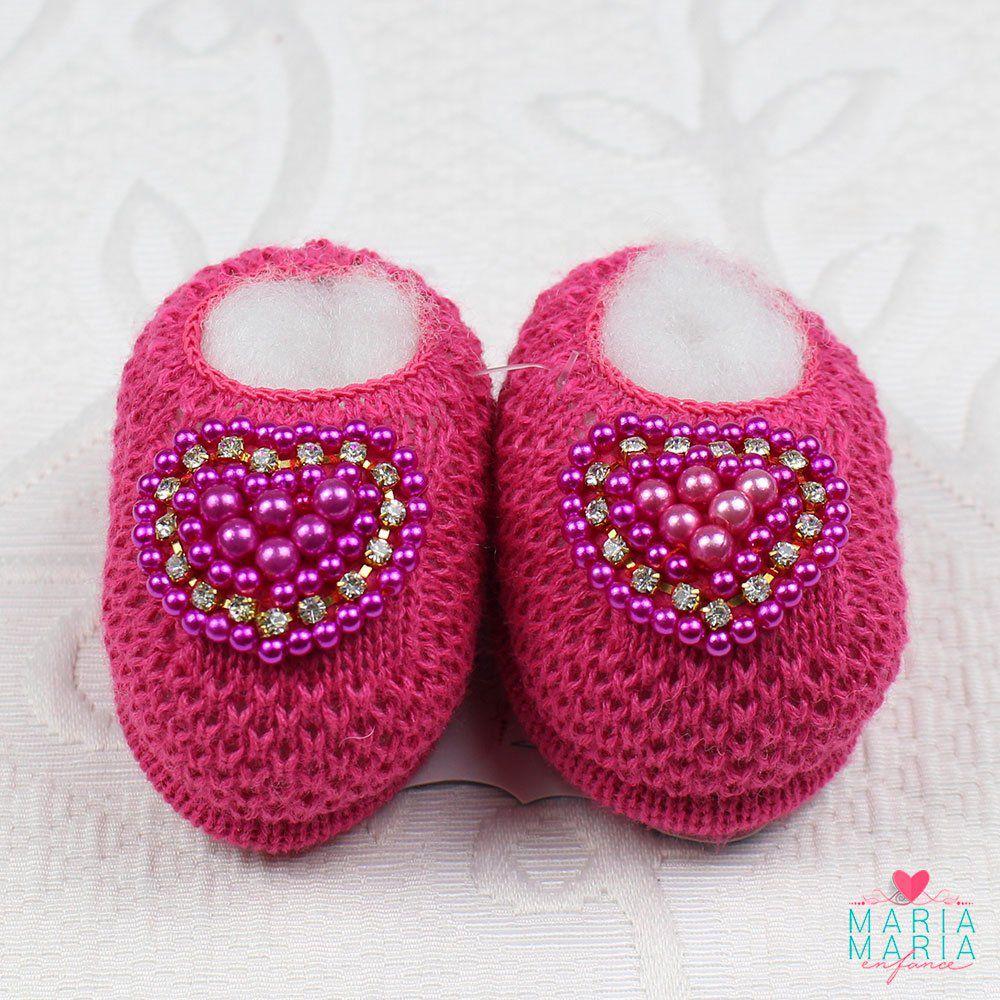 Sapatinho de Tricô Coração Pink