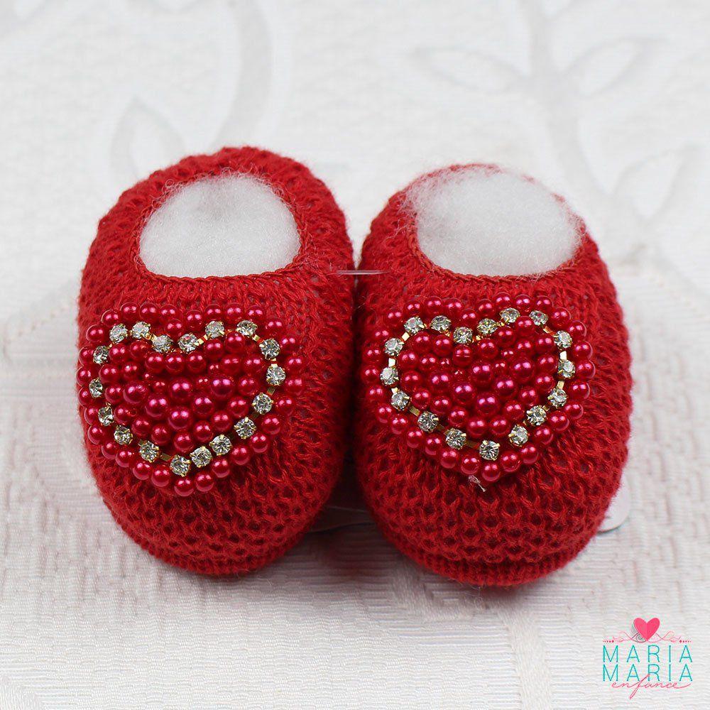 Sapatinho de Tricô Coração Vermelho