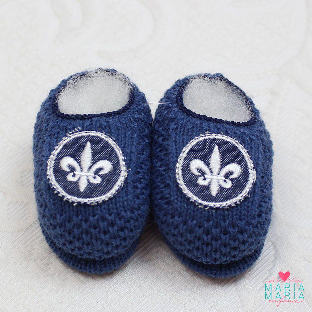 Sapatinho de Tricô Flor de Lis Azul Jeans