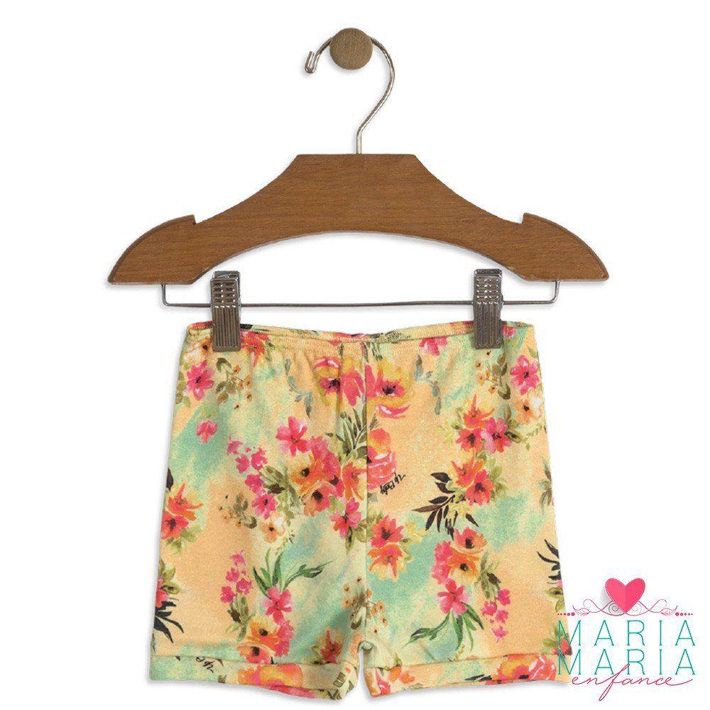 Shorts Suedine Floral Amarelo
