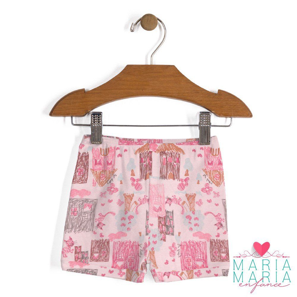 Shorts Suedine Rabiscos Rosa