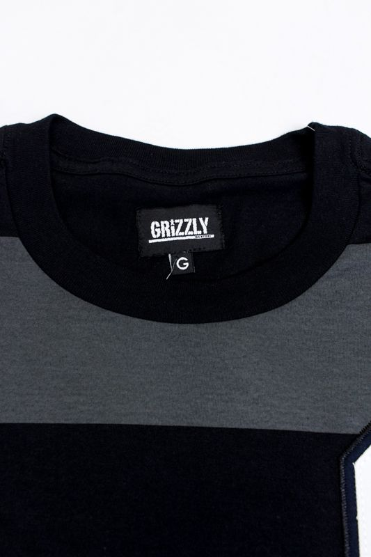 "CAMISETA GRIZZLY ""GRAND STAND STRIPED S/S KNIT"" ESPECIAL CINZA/PRETA"