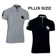 Kit com 02 Polos Tradicionais da Marca Preto e Cinza Plus Size