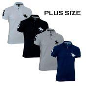 Kit Polos Masculinas Plus Size RG518 Cinza-Branco-Preto-Marinho
