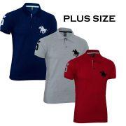 Kit Polos Masculinas Plus Size RG518 Vermelho-Cinza-Marinho