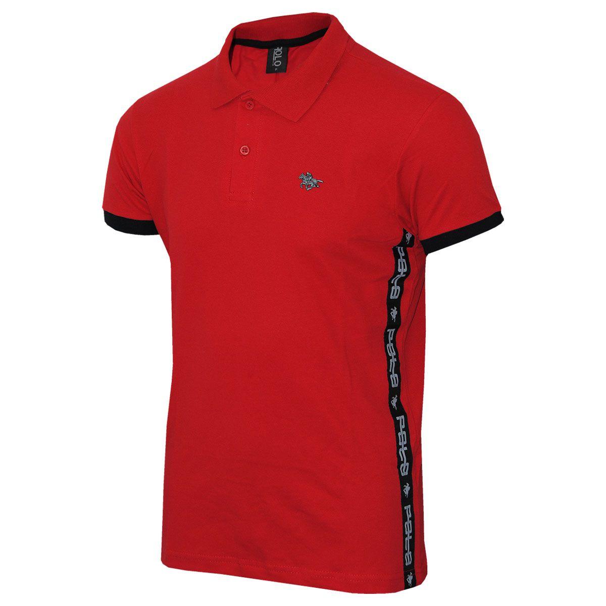Camisa Polo com Tape Lateral e Logo em Metal