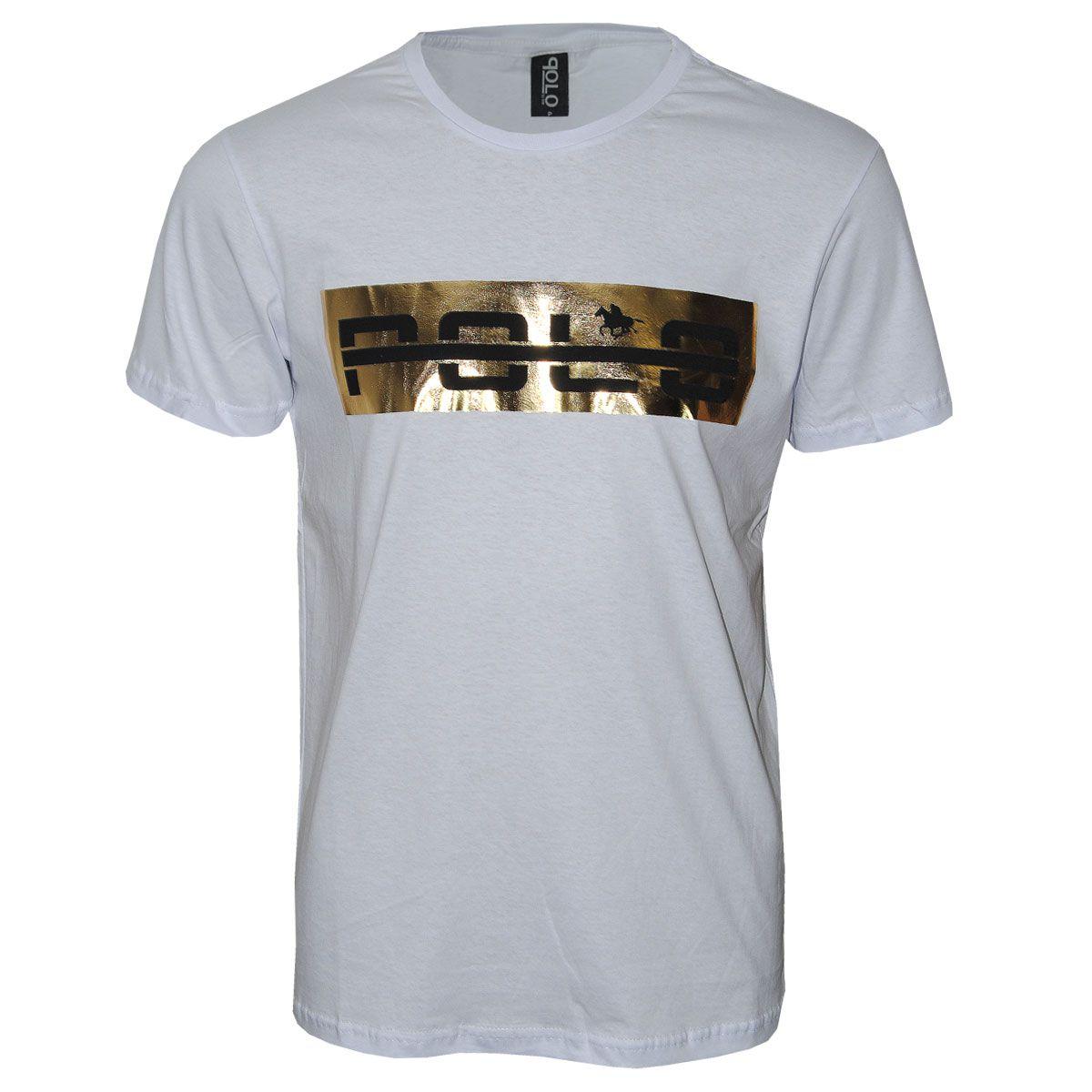 Camiseta Masculina Com Foil Dourado
