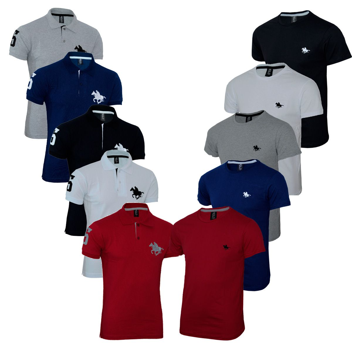 Kit 5 Camiseta e 5 Polos Masculina com Bordado RG518