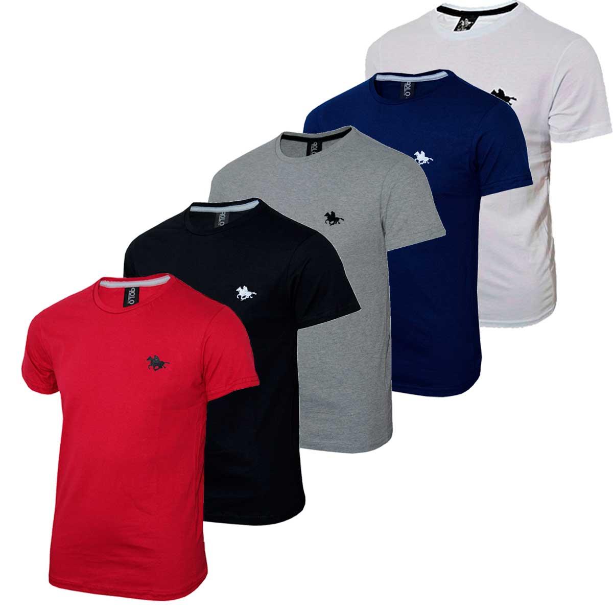 Kit Camiseta Masculina Lisa Básica com Bordado Especial