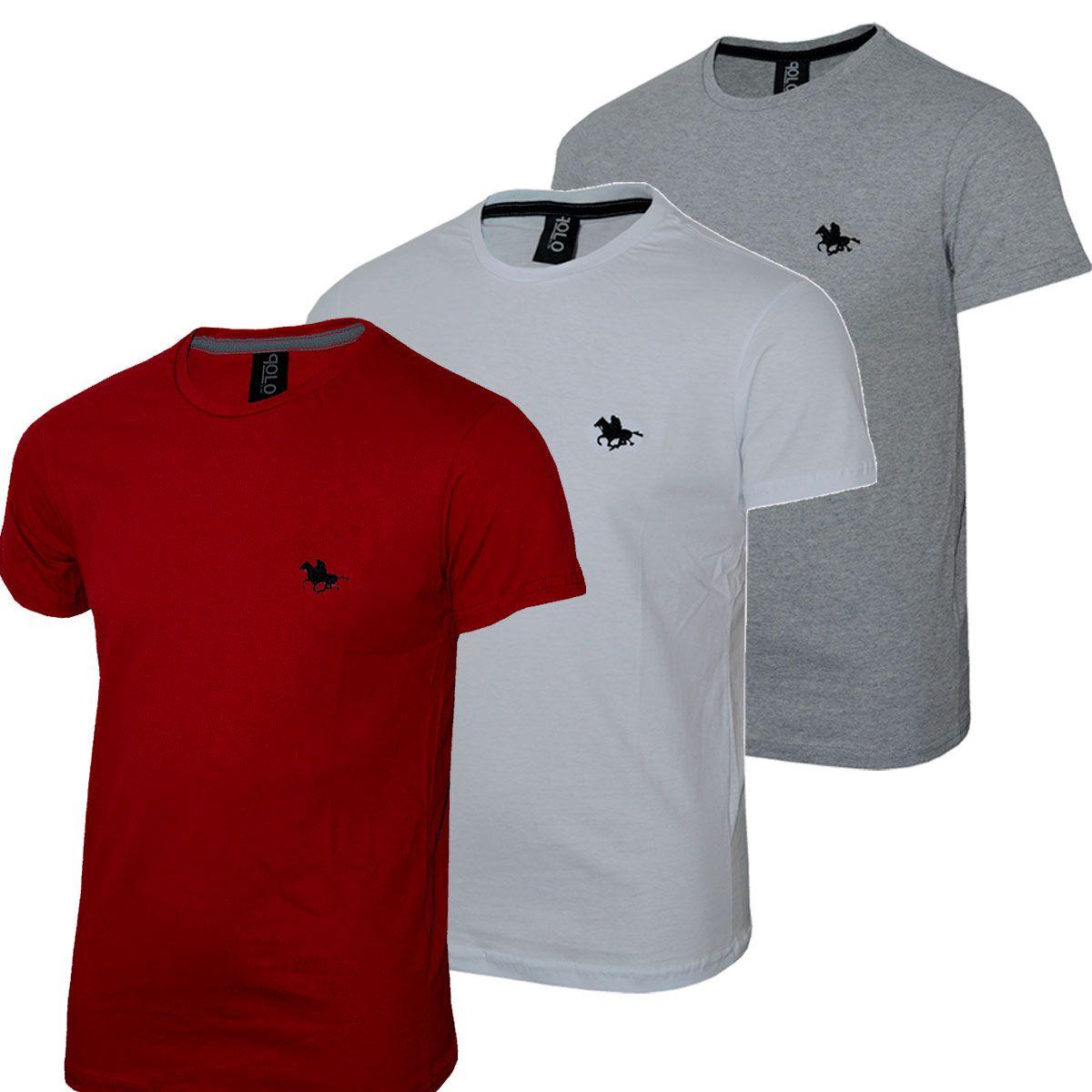 Kit C/3 Un Camisas Blusas Masculinas Bordado