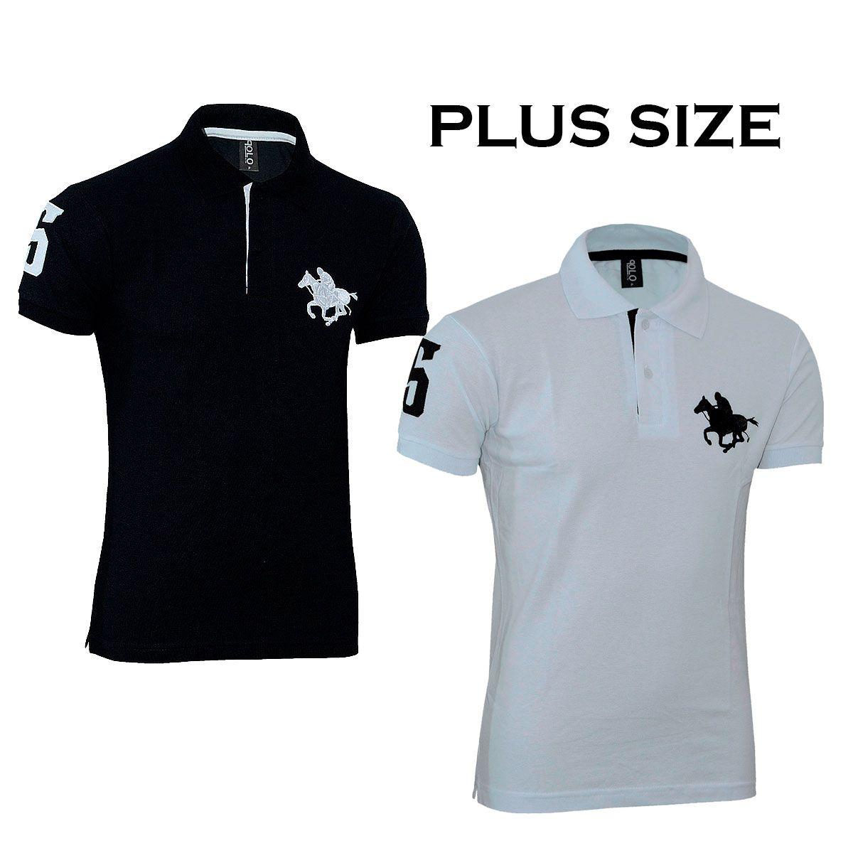 Kit com 02 Polos Tradicionais da Marca Preto e Branco Plus Size