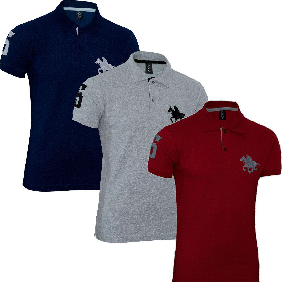 Kit com 03 Polos Tradicionais da Marca -Vermelho - Cinza e Azul Marinho