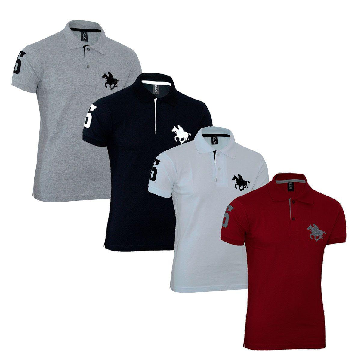 Kit com 04 Polos Tradicionais da Marca - Vermelho - Branco - Preto e Cinza