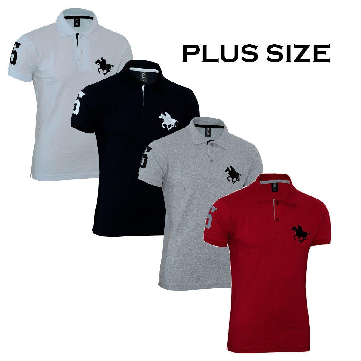Kit Polos Masculinas Plus Size RG518 Cinza-Branco-Preto-Vermelho