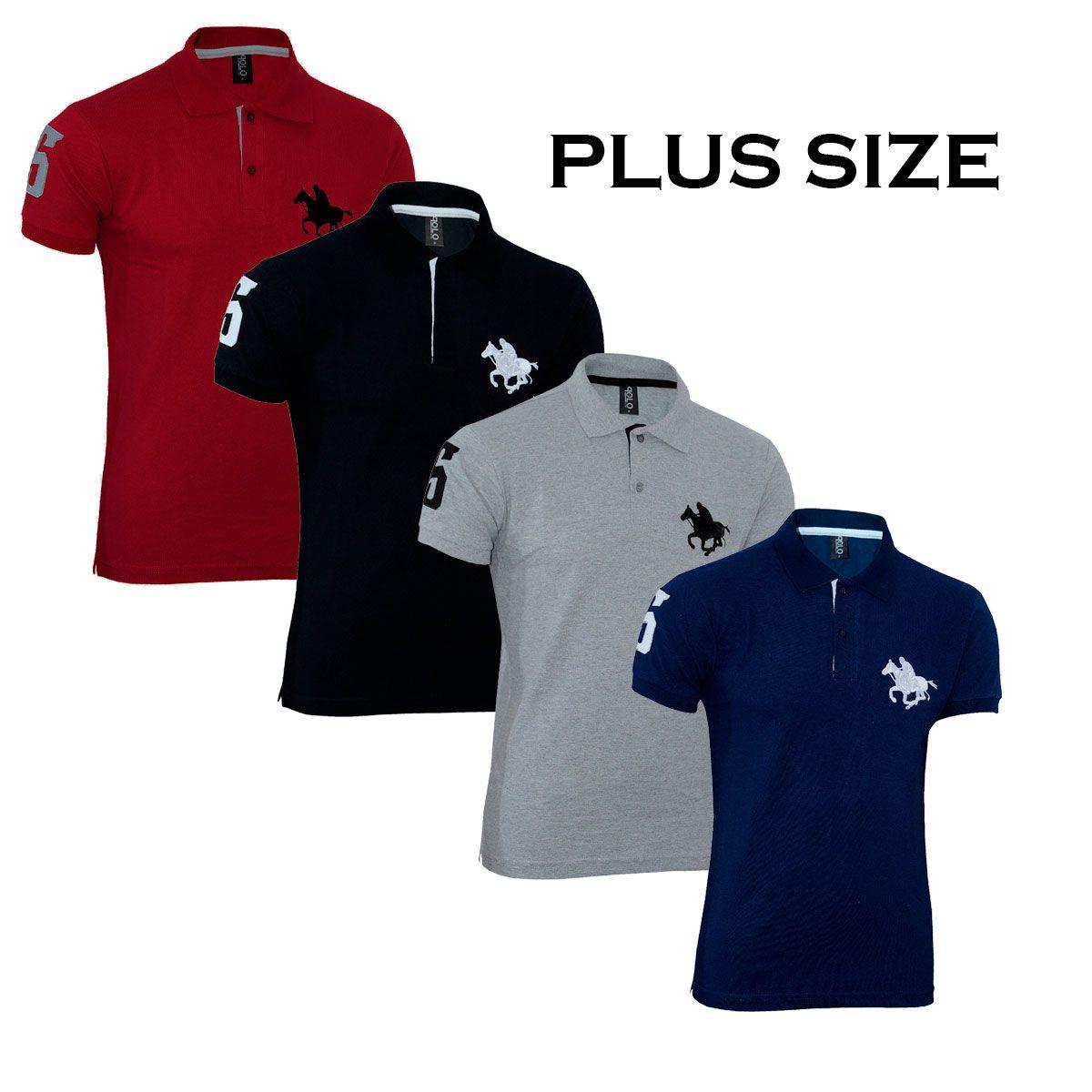 Kit Polos Masculinas Plus Size RG518 Cinza-Vermelho-Preto-Marinho