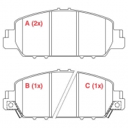 Pastilha freio dianteira willtec honda ACCORD  2013 >, HRV  1.5 16V  2020 >, HRV  1.8  LX, EX, EXL 2015 >