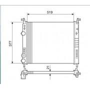 Radiador agua visconde fiat idea 1.4, 1.8 s/ acd 06 > palio, siena, strada 1.0, 1.3, 1.4 8v/16v fire c/s acd 01 > colmeia de 21mm ori - 46779392 / 46815886 / 46815887