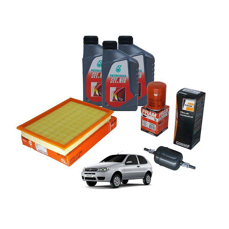 Kit filtro ar + filtro combustivel + filtro oleo + Filtro Cabine (ar condicionado) + Oleo (3 litros) Palio, siena e strada