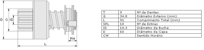 Impulsor partida zen agrale, ford cargo, mwm, mb, puma, toyota, vw caminhao, valmet caminhão tx 1600d, 1800d, 1600d caminhão dodge d950, p700, p900 ( motor mwm ) c 1215, c 1216, c 1217, c 1415, c 1416